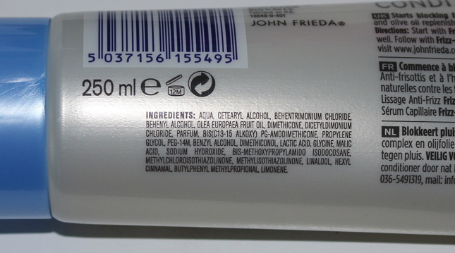 ingredientes Condicionador Frizz Ease John Frieda
