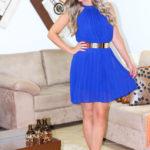 Meu look de ano novo: Vestido Azul plissado