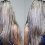 Tirando roxo e verde do cabelo loiro com leite