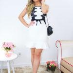 Look: Vestido romântico em preto e branco