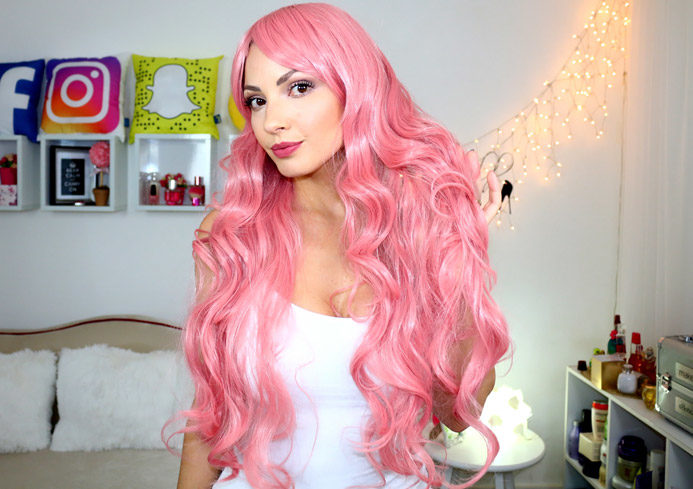 minha peruca rosa estilo mangá/ AliExpress