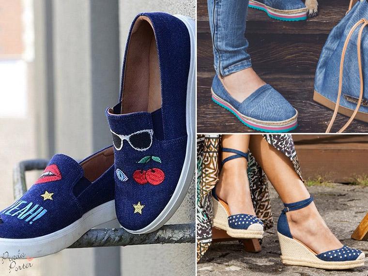 daa6caad93 Que o jeans faz muito sucesso há décadas com calças, camisas e jaquetas não  é novidade! A tendência da moda é que os sapatos em jeans estão chegando  com ...